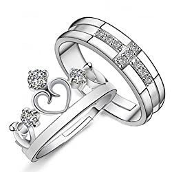 19 Likes Silver Plated Couple Ring For Women & Men