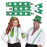 Bretelles Saint Patrick sangles de pantalon trèfle vert-blanc élastiques Y lutin Porte-pantalon farfadet bretelles de pantalon en Y Saint Patrick accessoire déguisement Irlande