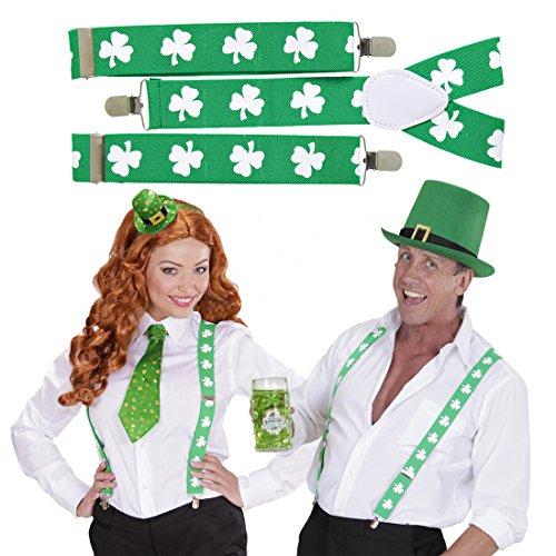 's Day Hosenträger Kleeblatt Hosenhalter grün-weiß Leprechaun Bundhalter Braces Herren St Particks Day Y-Form Hosen Träger Kostüm Accessoire Irland Ire (Ire Kostüm)