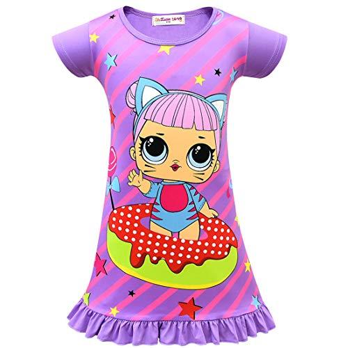 QYS Die Pyjama Party Girls LOL Überraschung Night Dress Nighty Nachthemd Pink Dress Pagent Theme,Purple,140cm (Pagent Kleider Für Kinder)