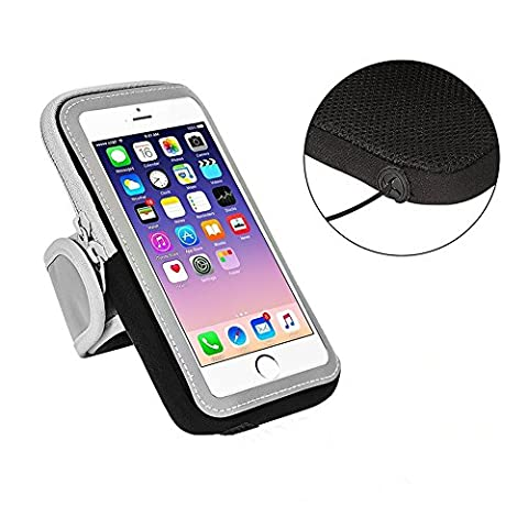 Sports Armband Sweatproof Running Phone Holder for iphone 7 Plus 6 Plus 6s Plus (5.5-Inch) Samsung Galaxy Note 5 4 3 Note Edge S5 S6 S7 Edge Plus, with Adjustable Size and Double Deck for Keys/Credit Card/ID Card/Small Money