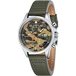AVI de 8Unisex Reloj de Pulsera Cronógrafo Cuarzo Piel Hawker Hurricane–AV de 4013–08