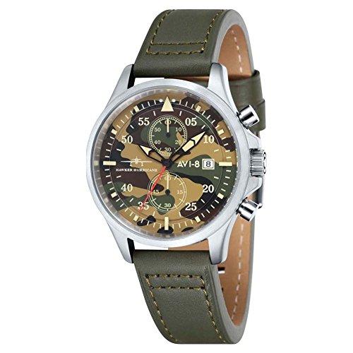 Avi 8Unisex Quartz Watch with Chronograph Quartz Leather Hawker Hurricane–AV 401308