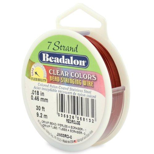 Beadalon 0.46 mm x 9,2 m filo-coil fili 7 Qualità commerciale Red