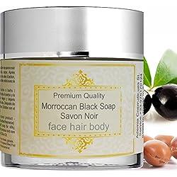 Auténtico Jabón Negro Marroquí Puro 200g Jabón Beldi Exfoliante y Hidratante Enriquecido con aceite de Argán