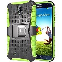 S4 Funda,iDoer Galaxy S4 Case Carcasa Cases caso armor doble capa híbrida con soporte Cáscara de Cubierta de Silicona Protectora para Samsung Galaxy S4 - verde