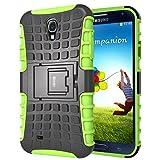 Galaxy S4 Hülle,S4 Hülle silikon TPU Schutz Handy Stoßfest Drop Resistance Hüllen Etui Hybrid Handyhülle Das Bumper S4 Case für Samsung Galaxy S4 mit Ständer - Grün