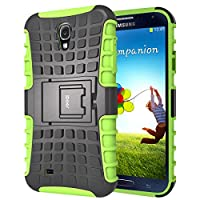 S4 Funda,iDoer Galaxy S4 Case Carcasa Cases caso armor doble capa híbrida con soporte Cáscara de Cubierta de Silicona Protectora para Samsung Galaxy S4 - verde