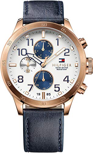 Signori-Guarda Tommy Hilfiger analogico al quarzo in pelle 1791139