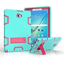 Funda de Dteck(TM) para Samsang Tableta T580/T585, Silicona +PC Dual Funda Protectora Completa con Soporte de Multi Ángulos para Samsang Galaxy Tab A 10.1 SM-P580/P585 10.1 Pulgadas, Menta+Rosa