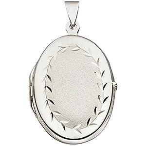 Medaillon Amulett Anhänger zum Öffnen 925 Silber oval teilmatt Unisex