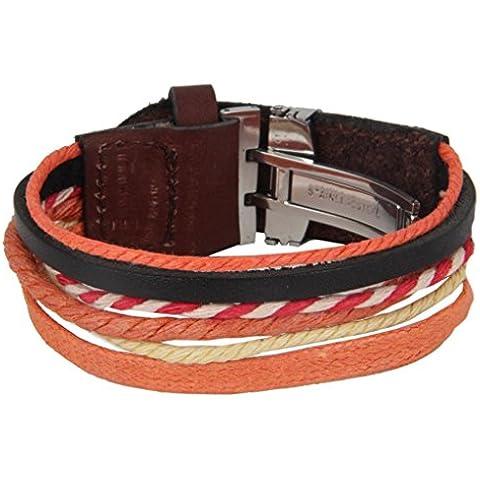 The jewelbox arancione, in vera pelle, chiusura in acciaio INOX, cinturino da polso