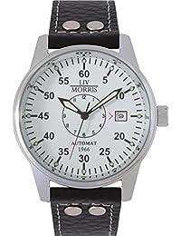 LIV MORRIS 610098076353 - Reloj para hombres, correa de cuero color negro