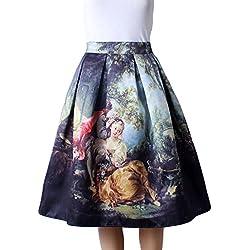ZKOO 50s Mujeres Elegante Vintage Vestidos Midi Faldas Cortas de Alta Cintura Grandes Dobladillo Negro