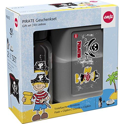 Emsa 516164 2-teiliges Geschenkset für Kinder, Brotdose und Trinkflasche, Schwarz, Kids Set (Piraten Set)