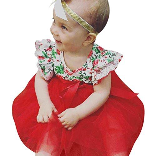 eid Kleinkind Kinder, DoraMe Baby Mädchen Blume Drucken Prinzessin Kleid Mode ärmellose Party Kleid Rundhals Sommerkleid für 1-3 Jahr (Rot, 18 Monate) (Kinder Süßes Kleid)
