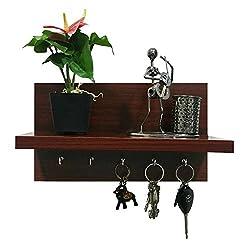 A10 Shop Omega 6 (Mahogany) Wall Mounted Decor Shelf with Key Hooks