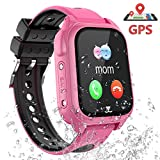 GPS Tracker Smartwatch Enfants - Montre Intelligente Téléphone pour Enfants Garçons Fille Etudiant, Montre Enfants con Appel d'urgence SOS Appareil Photo Réveil Podometre Localisation GPS (S08- Rose)