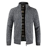 MAYOGO Strickjacke Cardigan Hoodie Zipper Elegant für Männer, Vlies Knitted Sweatshirt Herren Winter mit Fell Warm Gefüttert,Sweatjacke Freizeit Outwear Pullover Sweater (Dunkelgrau, XLarge)