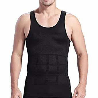 FEESHOW Men's Slimming Vest Compression Shirt Top Tummy ...