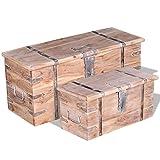 Festnight 2-TLG. Aufbewahrungstruhen Set Truhe Truhentisch Aufbewahrungsbox als Couchtisch Beistelltisch aus Akazienholz