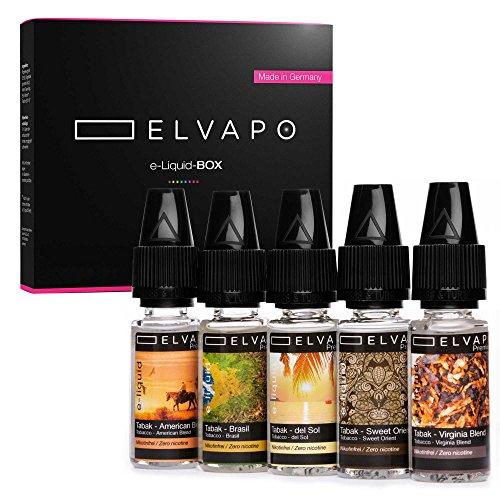 5 x 10ml Elvapo Premium E-LIQUID-BOX   Made in Germany   Tabak-Set: American Blend, Virginia Blend, Sweet Orient, Del Sol, Brasil   Probierset für E-Zigaretten und E-Shishas   0mg (ohne Nikotin)
