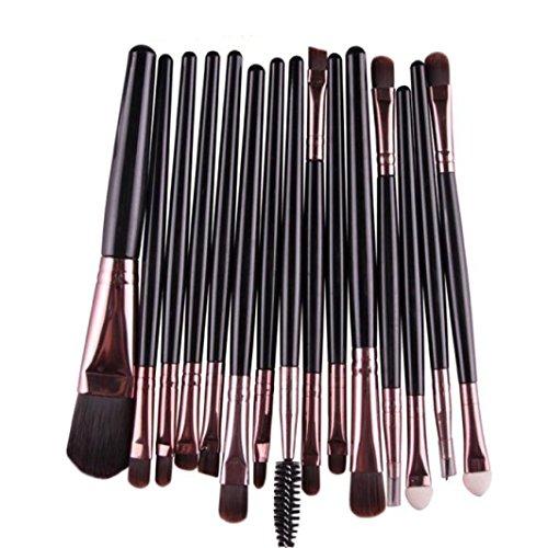 Paupière Pinceau Coloré(TM) Lot de 15 Set Outils Pinceaux Maquillage Pinceaux pour le Yeux Ombre à Paupières Sourcils Shader Concealer Cosmetics Brush (Noir)