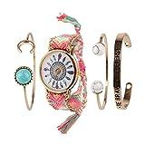 Beauty7 Relojes Tejido y Pulsera con Raya Costumbre Popular Pluma Arco Escrito Turquesa Hilado para Mujeres con 4 Pulsera Metálico Elegante Moda Bonita