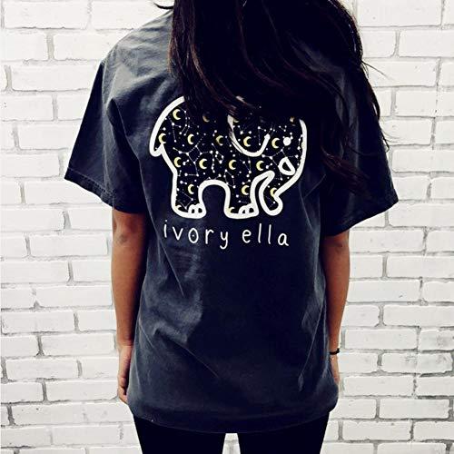 youngfate Camiseta Casual para Mujer, con Estampado De Elefante Y Alfabeto Inglés Personalizado, Adecuada para El Verano Al Aire Libre Y Deportes