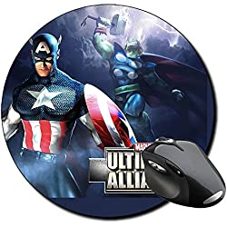 Marvel Ultimate Alliance Capitan America Thor Alfombrilla Redonda Round Mousepad PC