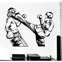 GGWW Wall Sticker Sport Taekwondo Karate Kick Boxing Fighters Vinyl Decal (Z3021)