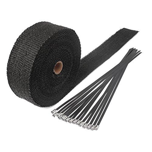 15M Hitzeschutzband Fiberglas Auspuffband mit 15 Kabelbinder für Fächerkrümmer Thermoband Krümmerband Schwarz
