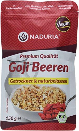 Naduria Bio Goji Beeren in Premium Qualität | 450g (3 x 150g) | Getrocknet & naturbelassen | Ungeschwefelt & ungesüßt | Zum Verfeinern von Müslis, Smoothies & Salate | Vegan (Leben 150g Neues)