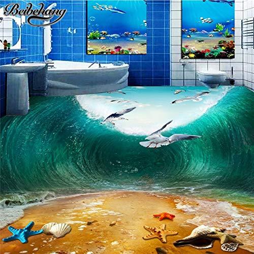 Apoart 3D Wandtapete Große Wohnzimmer Boden Stereo Schock Wellen Seabird Beach Toilette Badezimmer Schlafzimmer 3D Bodenmalerei300Cmx210Cm