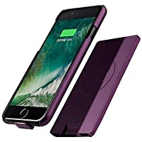 5.5 inch Wireless Backup Battery Case 5000 mAh with Magnetic USB Power Bank Charger Protection Cover, Purple Gray For iPhone Plus 8/7/6S/6