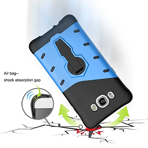YHUISEN Galaxy J7 2016 Case, Hybrid Tough Rugged Dual Layer Rüstung Schild Schützende Shockproof mit 360 Grad Einstellung Kickstand Case Cover für Samsung Galaxy J7 2016 J710 ( Color : Black ) Blue
