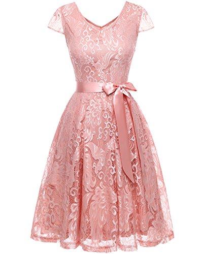 Bridesmay Damen Spitzenkleid kurz Brautjungfern Cap Ärmeln Cocktailkleid Abendkleider Blush S