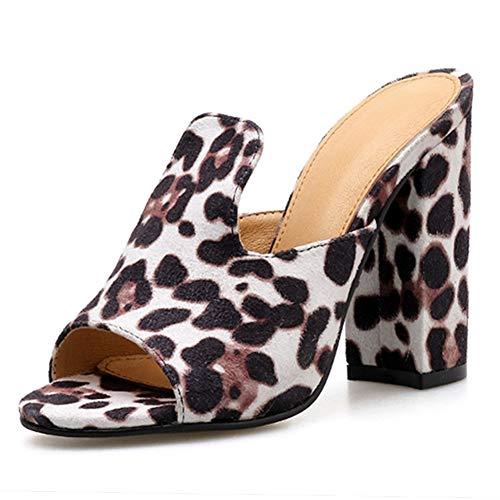 From HandMade Mode Sandaletten for Frauen 11cm Ferse Chunky Open Toe Slipper Leopard Slip On Pantoletten Komfortable Faux Wildleder rückenfreie Clogs (Color : Leopard Print, Size : 35 EU) Leopard Print Clogs