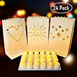 Papier Lichttüten und LED Teelicht Kerzen (24 Packs) - Flammenlose Kerzen mit Teelichter Flackern Kerze Lichter für Dekoration, Geburtstag, Halloween, Straßenfest, Hochzeit