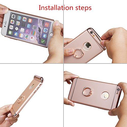 Hülle für Samsung S7, xhorizon FM8 3 in 1 ultra dünn hart Schutz Stilvoll Tasche für Samsung Galaxy S7 mit 360 Grad Drehbar Ring Ständer mit einem 9H Ausgeglichen Glas Film Pink