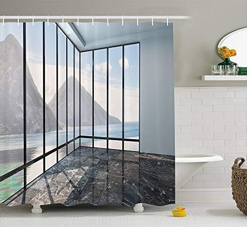 GAOFENFFR Weißer Dekor Duschvorhang Berg Ozean Meer Wolken Landschaft aus Glas Fenster Foto Stoff Badezimmer Dekor Set mit lang Anthrazit - Duschvorhang-sets Meer