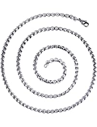 Cozylife Cadena Larga de eslabones de Acero Inoxidable para Hombres y Mujeres, 3 mm de Ancho, 45 – 60 cm de Largo
