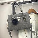 Women Handbag Large Bag Retro Top-Handle Bags Casual Fashion Female Shoulder Bag Messenger Bag (Matte Grey)