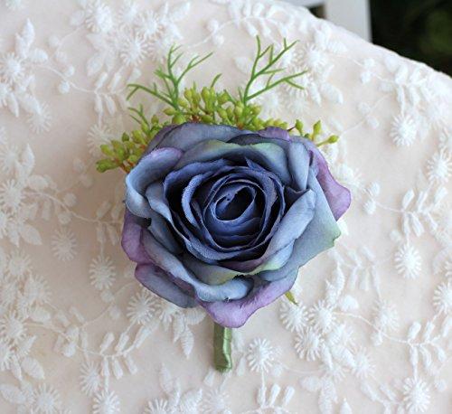 Driverder Schöne Braut Elegante Rose Corsage Simulation Blume (Lila Blau) (Corsage Blume)