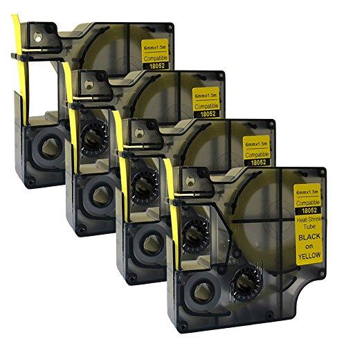 NEOUZA 18052 S0718270 Kompatibel für DYMO Rhino IND Pro Industrial Schrumpfschlauch-Kabeletiketten Etikett Tube Länge 1.5m Schwarz auf Gelb 6mm (4PK) EINWEG