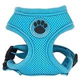 CHUNXU Hundegeschirr aus Gummi, verstellbar, weich, atmungsaktiv, für Hunde und Katzen, Nylon, Netzgewebe, Brustgurt, Blau, Größe M