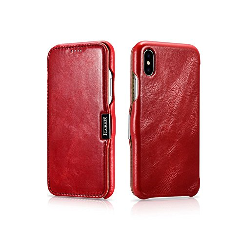 iPhone X Fall, Icarer [Retro Classic Series] Echtes Leder Tasche Flip Cover [Ultra Slim] mit starkem Magnetic Hülle für Apple iPhone X Cover (rot) (Retro-kamera Iphone 4 Fall)