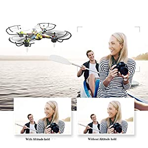 KD Drone, 2.4Ghz gyroscope Wifi FPV drone, aircraft real-time APP control height keeps with LED one-button take-off back, children's toy gift,Black