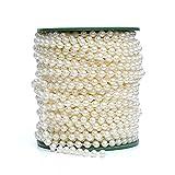 dealglad® 6mm Künstliche Girlanden Perlen Kette 25Meter Hochzeit Dekoration Deko Kronleuchter Mittelpunkt, plastik, beige, 25 Meters