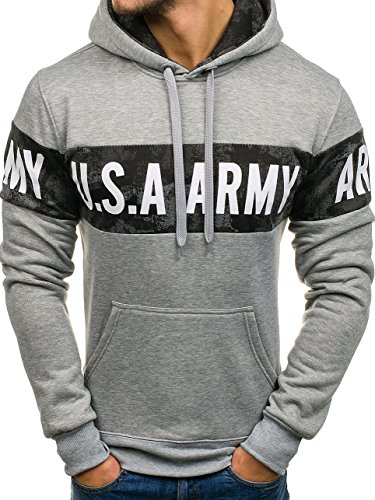 BOLF Herren Pullover mit Kapuze Sweatshirt Langarmshirt Sweatjacke Militär  Army Camo Muster 1A1 Grau DD48 11670fe293